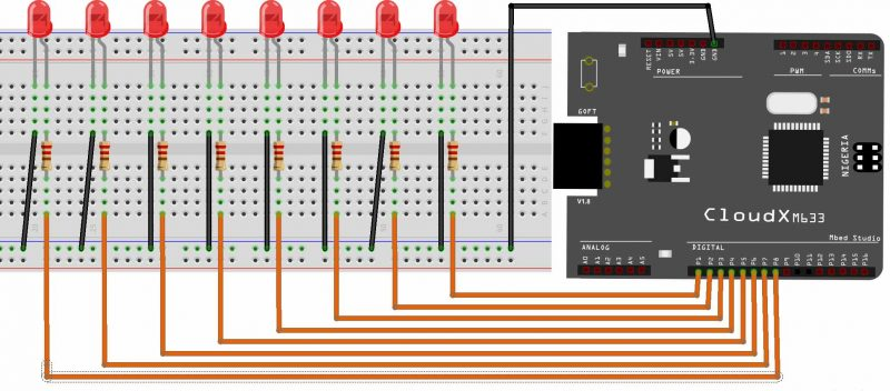 CloudX - Writing to Ports - Circuit Diagram