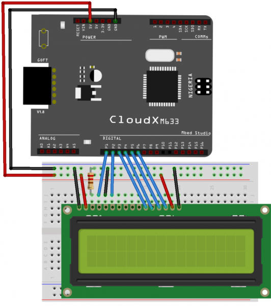 Interfacing LCD with CloudX - Circuit Diagram