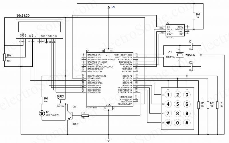 Digital Alarm Clock using PIC Microcontroller and DS3234 RTC - Circuit Diagram