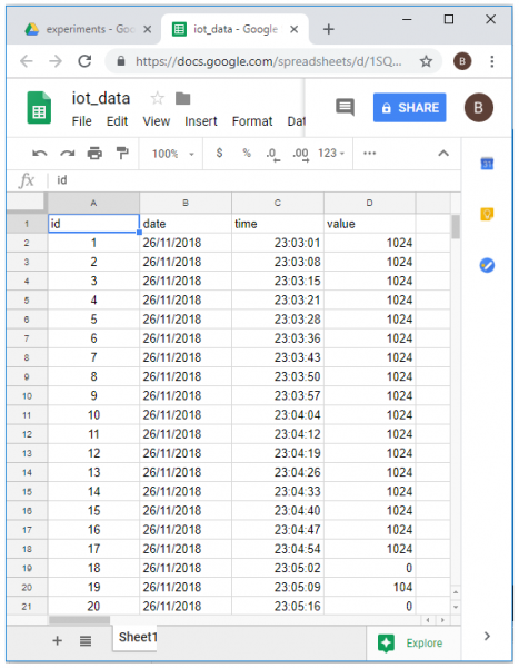 Updating Sensor Data to Google Spreadsheet using ESP8266 - Google Spreadsheet