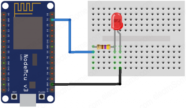 Home Automation using ESP8266 and Telegram Bot - Circuit Diagram
