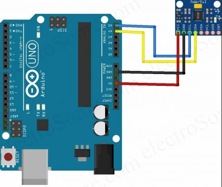 Interfacing MPU6050 with Arduino Uno - Circuit Diagram