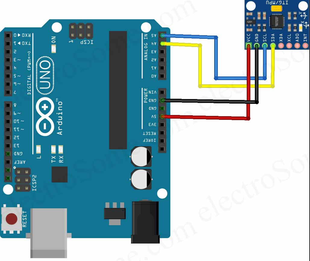 Interfacing MPU-6050 GY-521 Accelerometer Gyrometer with Arduino Uno
