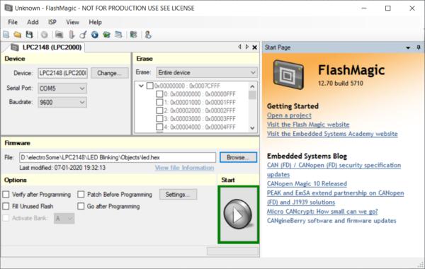 Flash Magic Tool - Selecting Serial Port Baud Rate Hex File