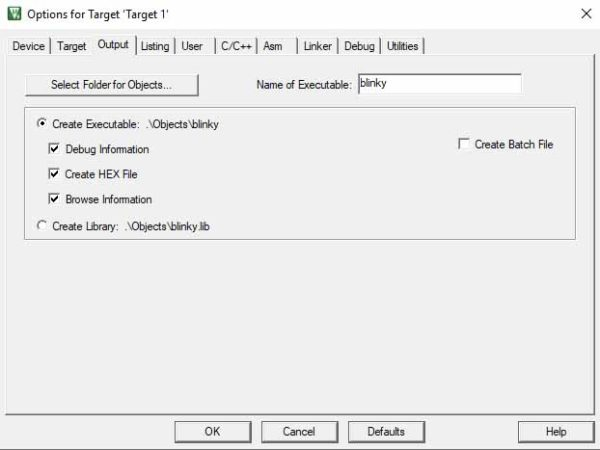 Output Tab - Options for Target - Keil Project