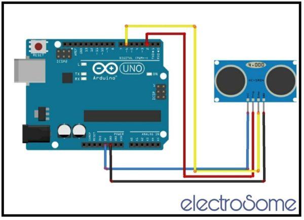 Integrating HC-SR04 Ultrasonic Distance Sensor Arduino Uno - Circuit Diagram