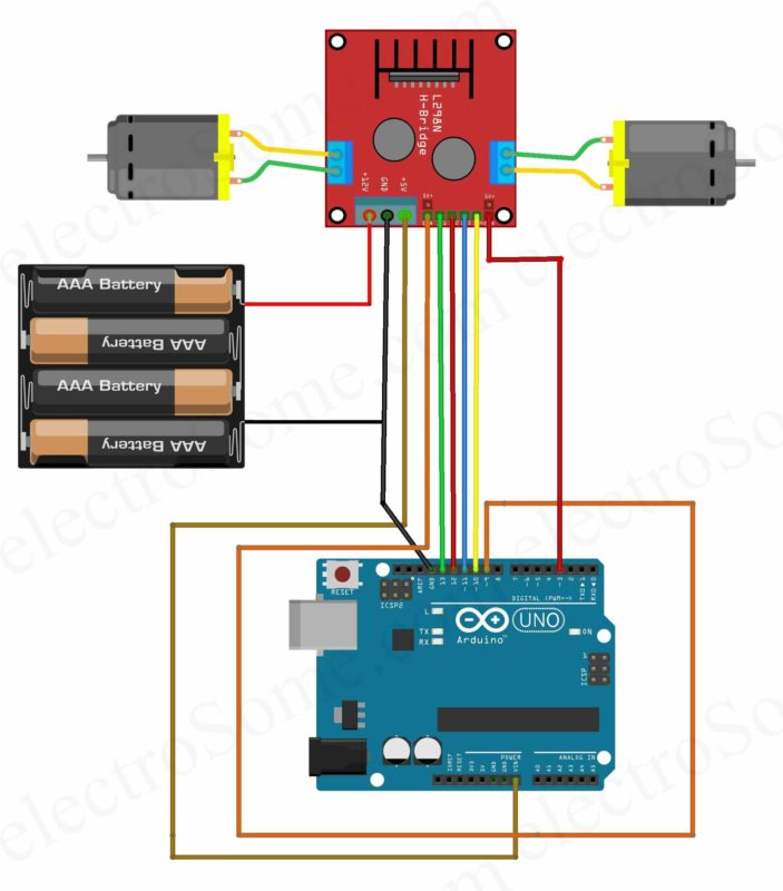 Interfacing L298N Motor Driver Arduino Uno - Circuit Diagram