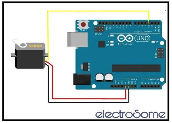 Interfacing Servo Motor with Arduino Uno - Circuit Diagram