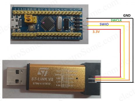 STM32F103C8T6 Board - ST-Link-V2 Programing - Circuit Diagram